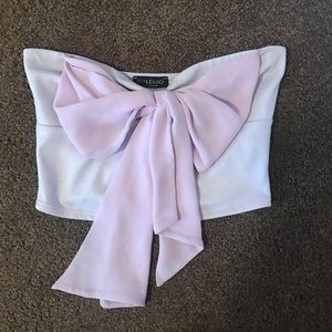 Lilac bow crop top